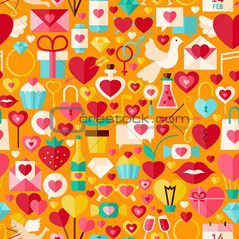 Valentine Day Vector Flat Design Orange Seamless Pattern