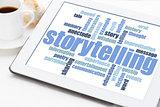 storytelling  word cloud on tablet