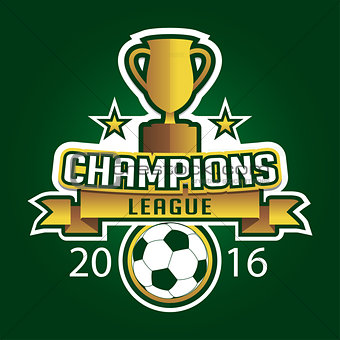 Champion soccer league logo emblem badge graphic with trophy