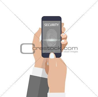 Smartphone with scanning fingerprint