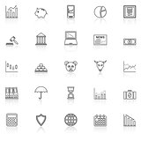Stock market line icons with reflect on white