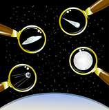 Set of space objects. Ufo, moon, satellite, meteor. EPS10 vector illustration