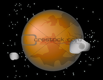 Abstract background with Mars Planet and its moons Phobos and Deimos. EPS10 vector illustration.