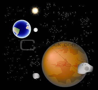 Abstract background with Mars, its satellites, earth, moon and sun. EPS10 vector illustration