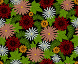 Vector seamless pattern with flowers. EPS10 vector illustration
