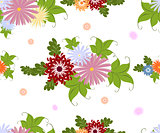 Seamless colorful flower pattern on white background. EPS10 vector illustration.