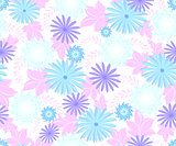 Seamless flower pattern on white background. EPS10 vector illustration.
