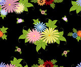 Vector seamless pattern with colorful flowers. EPS10 vector illustration.