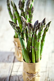 two bunches of fresh asparagus