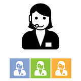 Customer support service icon - call center assistant with headp