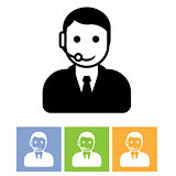 Customer support service - call center assistant icon