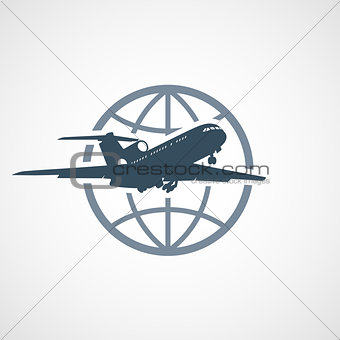 Air travel - airplane flying around the globe