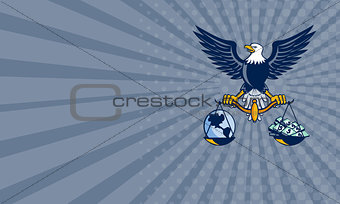 Business card Bald Eagle Hold Scales Earth Money Retro