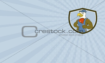 Business card Bald Eagle Plumber Plunger Crest Cartoon