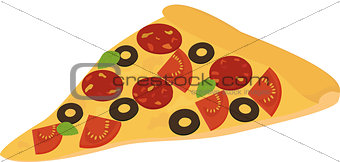slice of pizza with salami, pepperoni, tomato and olive