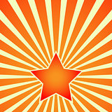 Victory Day Red Star on background of rays. Vector