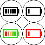 Set of battery icon - vector, flat design. Eps 10