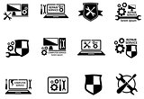 computer service and repair symbols set