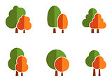 nature icons set with tree