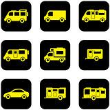 yellow transport set on black icons