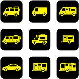 yellow transport set on black icons