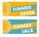summer offer and sale with sun sign, drawn banners
