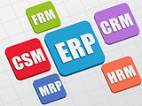 ERP, CSM, FRM, CRM, HRM, MRP in colors blocks, flat design