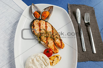 Grilled fish, salmon steak