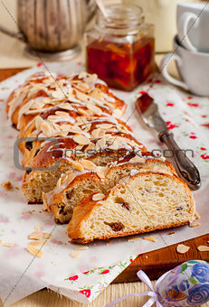 Sliced Easter Braided Sweet Bread