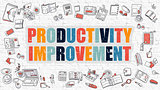 Productivity Improvement Concept with Doodle Design Icons.
