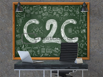 C2C Concept. Doodle Icons on Chalkboard.