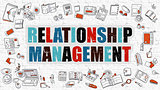 Relationship Management in Multicolor. Doodle Design.