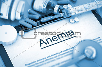 Anemia Diagnosis. Medical Concept. Composition of Medicaments.