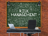 Chalkboard on the Office Wall with Risk Management Concept.