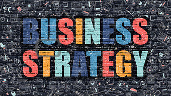 Business Strategy Concept. Multicolor on Dark Brickwall.