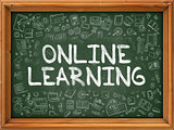 Green Chalkboard with Hand Drawn Online Learning.