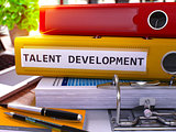 Yellow Office Folder with Inscription Talent Development.