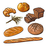 Fresh pastries, crisp bread isolated