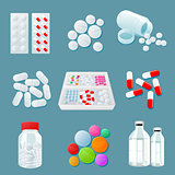 variety of drugs and pills, wide range