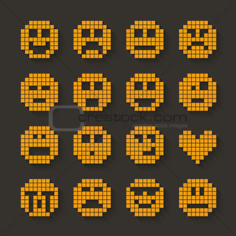 Flat pixel smile icons set with shadow effect.