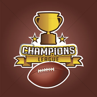 American football cup trophy and ball ribbons