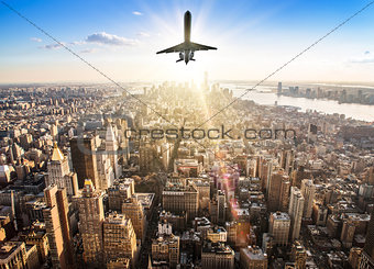 airplane over a skyline