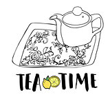 Graphic hand drawn tea set, teapot and tea tray with floral ornament