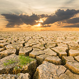 Drought land under the evening sunset