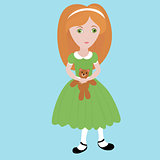 cute cartoon  little girl with orange hair wearing green dress holding small  teddy bear.  Happy child.