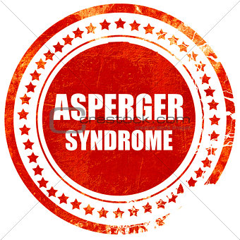 Asperger syndrome background, grunge red rubber stamp on a solid