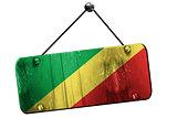Congo flag, 3D rendering, vintage grunge hanging sign