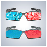 Polygon 3D glasses, vector illustration.