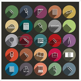 Chancellery icons, vector illustration.