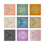 Set cursors of triangles, vector illustration.